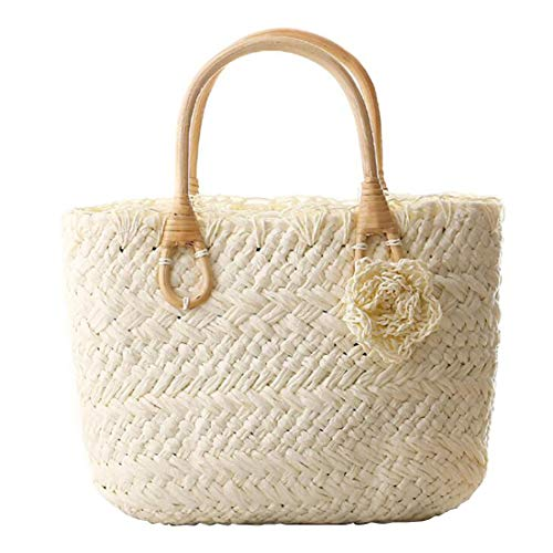 color Purse Tote Handbag Woven Flower Women Beach Cute Small Straw White Handmade Joyiyuan White For tTwq7fx