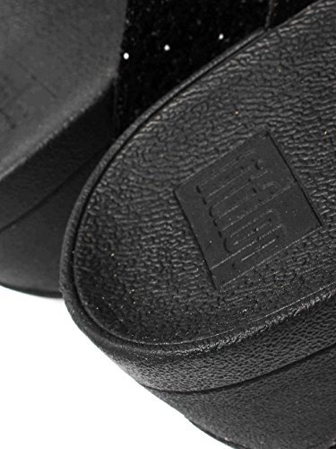 Fitflop Glitterball Slide - Sandalias con tacón Mujer Negro (Black)