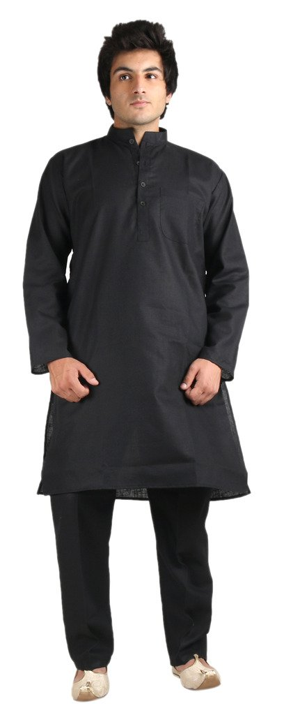 Royal Black Fine Cotton Kurta Pyjama For Men by Kurta