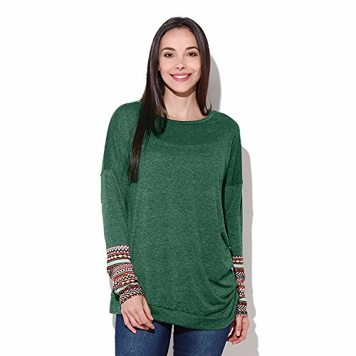 Wobuoke Women Loose Trim Round Neck Patchwork Long Sleeve Irregular Button Tunic T-Shirt for $<!--$6.33-->