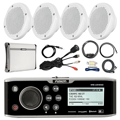 - Fusion 650 Series Bluetooth Marine Receiver with Internal Uni-Dock, 4X 6.5 2-Way 200W Speaker, Amplifier, T-spec Amp Install Kit with RCA Cables, Antenna, Universal USB Auxiliary Mount