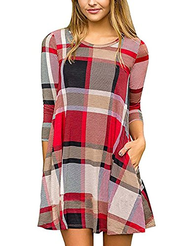 d2f27957f FANSIC Women Casual Long Sleeve Loose Checkered Plaid Swing Tunic T-Shirt  Dress with Pocket
