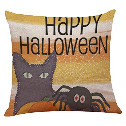 "YOcheerful Halloween Pillow Cover Pumpkin Witch Scary Bat Ghost Devil Kittens (H,45cm45cm/1818"") -"
