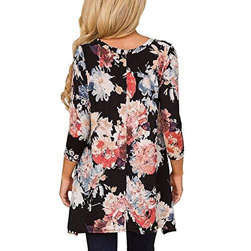 Floral Quarts Tops O Femmes Chemise Print la Manches Noir Trois Les Mode Neck Casual de Blouses 0qwavw6