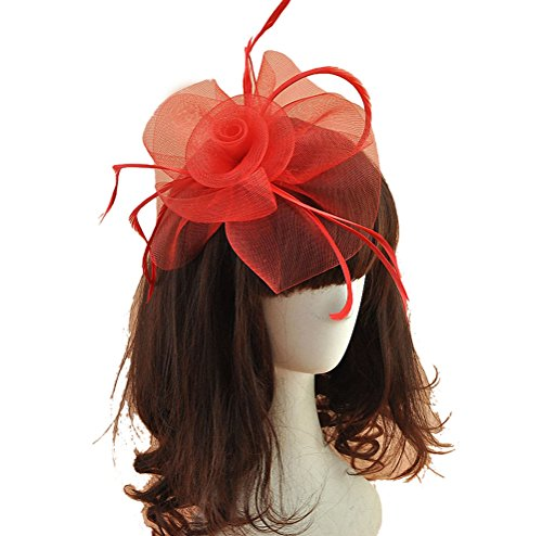 Women Fascinators Hair Clip Headband Hat Veil Flower Derby Cocktail Tea Party Church Headwear (Beautiful Red Felt Hat)