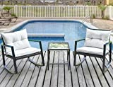 Leisure Zone with Coffee Table (Beige Cushion) Outdoor Patio 3 Pcs Wicker Rocking Bistro Set Porch Deck Rockers Review