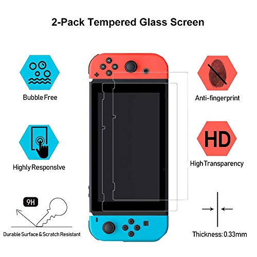Aosai Case for Nintendo Switch, Protective Case Cover for Nintendo Switch and Joy Con Controller with 4 Thumb Grips and 2 Glass Screen Protector (Space Bunny Purple)