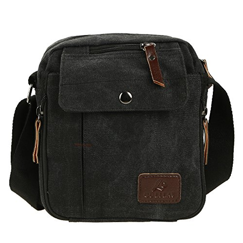 Multi Widewing Handbag function Men Shoulder Canvas Black Business Leisure Small UZr5wU