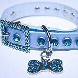 X-small: Blue Leather, Rhinestone Dog Collar w/ Bling Dog Bone Pendant, My Pet Supplies