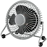 4 Desk Fan In Chrome Mini Grill with Black Blade