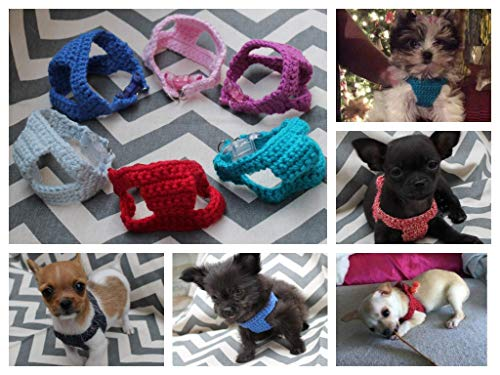 Teeny Tiny Handmade Cotton Crochet Dog/Puppy/Kitten First Harness, 1-2 lb 6 to 10 Inch Girth for Chihuahua Yorkie Maltese Toy Teacup Puppy Pig Piglet ()