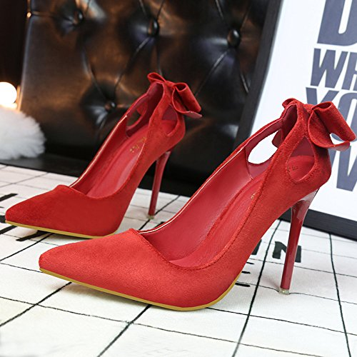 heeled bow with Asakuchi sweet hollow high suede thin shoes high pointed shoes heeled red zwdqfZw