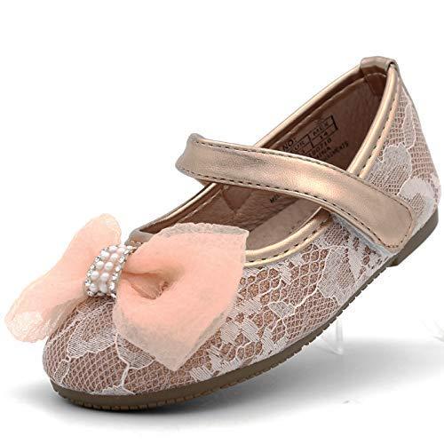 CAKI-Dream Seek Little Girl's Glitter Flats Ballet Dress Shoes Bow Lace Toddler Infant Baby Mary Jane Ballerina Strap (5 M US Toddler, Blush-2)