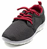Orly Shoes Flyknit Lace up Mesh Athletic Jogger Sneaker (Big Kid/Little Kid/Toddler) (3 Little Kids, Red/Black)
