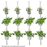 WITUSE Macrame 4 Tier Plant Hanger for Hanging Planter Indoor Flower Pots Plants Holder (4, Macrame)