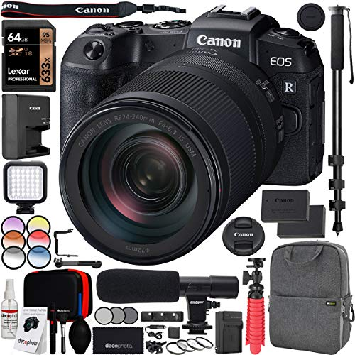 """Canon EOS RP Full-Frame Mirrorless Digital Camera Body with RF 24-240mm F4-6.3 is USM Lens Kit and Deco Gear Photo Video Pro Backpack Case Extra Battery Microphone and 72"""" Monopod Bundle"""
