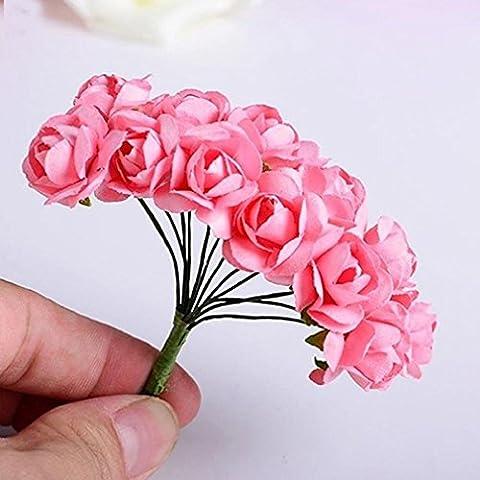 ALCYONEUS 12 Bouquets Mini Faux Rose Craft Paper Flower Bud Party Wedding Decor (Pink)