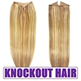 Fits like a Halo Hair Extensions 20''-22'' (P#7B/613) - No Clips, No glue, No Damage! It's so EASY! 100% Remy Premium AAAAA Human Hair! (Drk Blonde Lt Blonde Mix - 20'' P#7B/613)