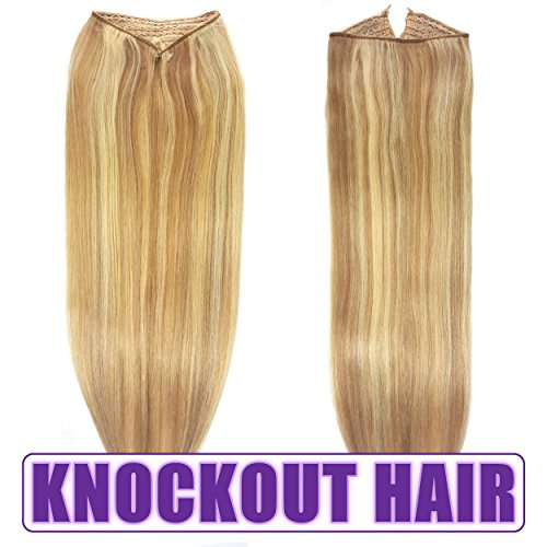 Fits like a Halo Hair Extensions 20''-22'' (P#7B/613) - No Clips, No glue, No Damage! It's so EASY! 100% Remy Premium AAAAA Human Hair! (Drk Blonde Lt Blonde Mix - 20'' P#7B/613) by Knockout Hair