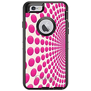 "CUSTOM Black OtterBox Defender Series Case for Apple iPhone 6 PLUS (5.5"" Model) - Hot Pink Polka Dots Swirl"