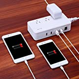 AMIR Travel Power Strip (3 AC Outlets + 4 USB Ports) with USB, 3 Universal Travel Adapters/Sockets,Surge Protector Electric Charging Station(UK/AU/EU), International Charging Station
