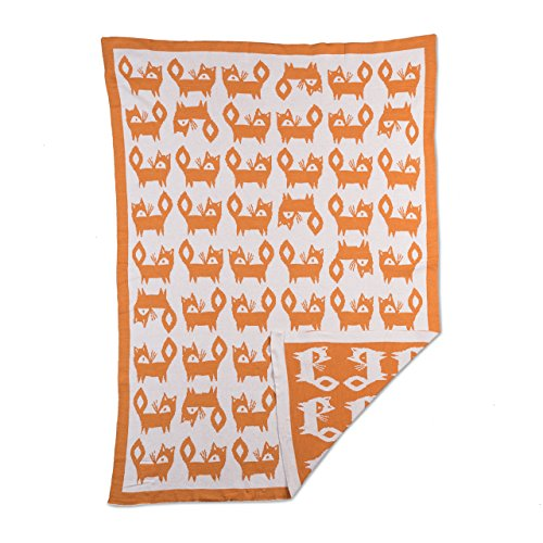 Lolli Living Knitted Mod Jacquard Blanket in Fox. 100% Cotton Knitted Baby Blanket