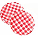 """""""What Is It?"""" Reusable Red & White Gingham Checkered Picnic / Dinner Plate, 9 Inch Melamine, Set of 4"""