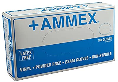 AMMEX - VPF - Medical Vinyl Gloves - 100/box, Disposable Exam Grade, Powder Free, Latex Free, Food Safe, 5 mil, Clear
