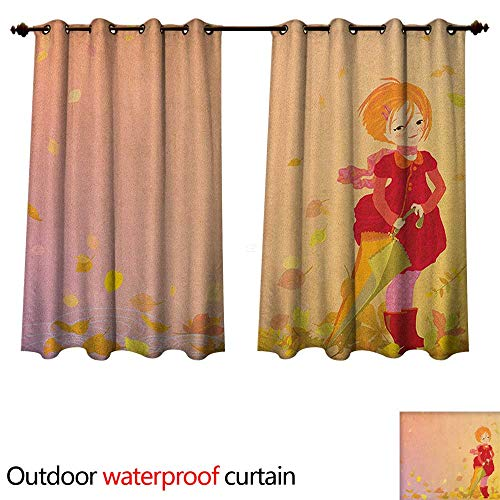 Anime Outdoor Balcony Privacy Curtain Smiling Little Girl Holding an Umbrella in The Windy Autumn Season Fallen Leaves W72 x L72(183cm x 183cm) ()