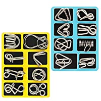 Coogam Metal Wire Puzzle Set of 16,Brain Teaser IQ Test Disentanglemen Puzzles Game Magic Trick Toy Gift for Kids and Adults Challenge