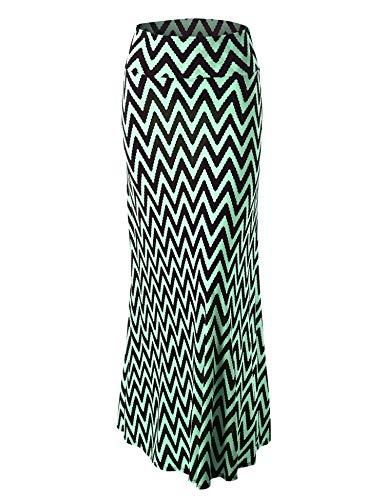 LL Womens Chevron Print Maxi Skirt M CHEV_Mint ()