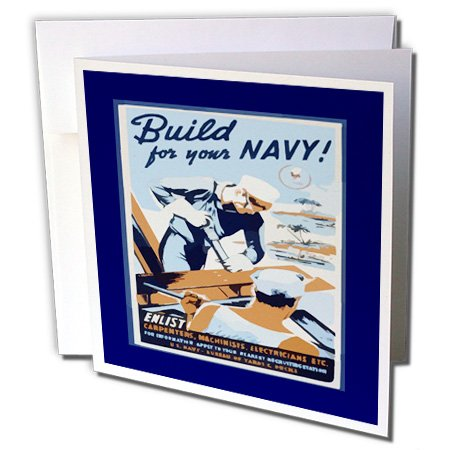 Florene Vintage War Poster - Image of World War Two Ad Build For Your Navy - 12 Greeting Cards with envelopes (gc_163155_2)