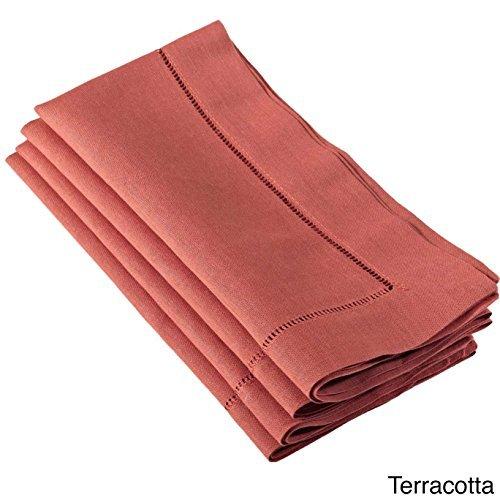 (Fennco Styles Solid Color Vibrant Hemstitched Linen Blend Dinner Napkin, Set of 4, (Terracotta, 20