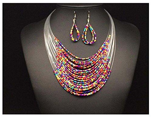 Darkey Wang Woman Fashion Bohemian Multilayer Woven Beaded Necklace Earrings Set£¨1#£