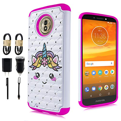 Motorola Moto G6, Diamond Bling Phone Case Moto G6 Case,Moto G (6th Generation) [Screen Protector] Silicone Shock Proof Cover [Value Bundle] (Unicorn White)