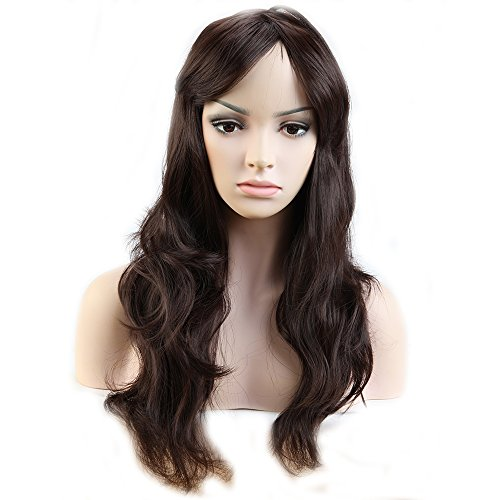 23'' Full Wig with Bangs Long Heat Resistant Curly Wavy Synthetic Wig 9 Colors 23'' / 58cm + Stretchable Elastic Wig Net for Women Girls Lady Fashion and Beauty(Dark Brown)