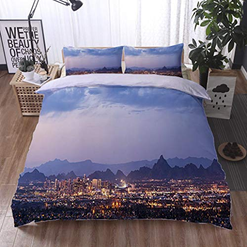 HOOMORE Bed Comforter - 3-Piece Duvet -All Season, Phoenix and Scottsdale Dusk Panorama,HypoallergenicDuvet-MachineWashable -Twin-Full-Queen-King-Home-Hotel -School (Scottsdale Queen Comforter)