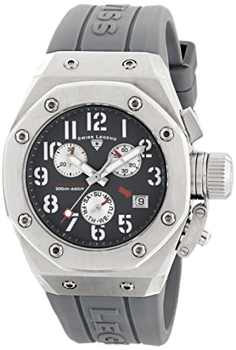 Swiss Legend Women's 10535-014 Trimix Diver Chronograph Grey Dial Grey Silicone Watch