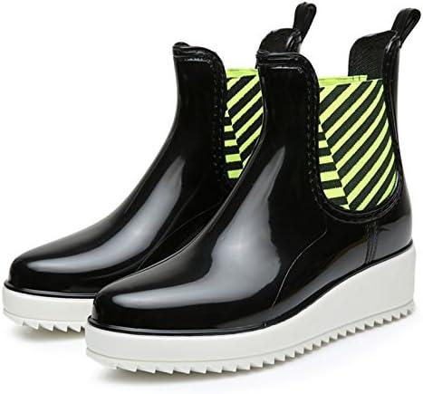 Alta moda breve stivali PVC elastico gomma pioggia stivali acqua scarpe antiscivolo risplendere donna scarpe impermeabili