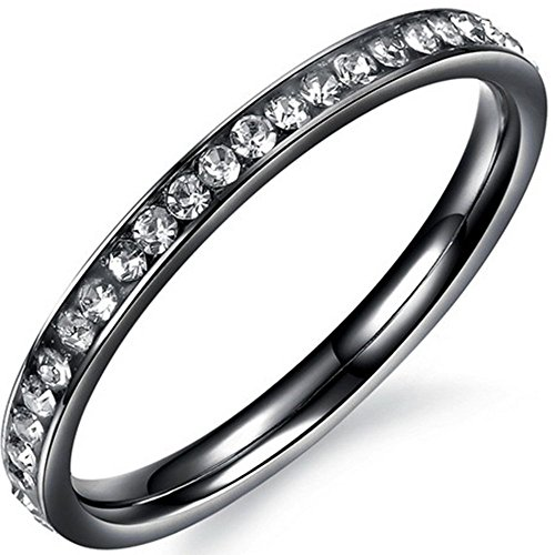 Channel Cubic Zirconia Band Ring - Women 2mm Titanium Stainless Steel Channel Set Cubic Zirconia CZ Inlay Black Wedding Ring Engagement Band Size 6