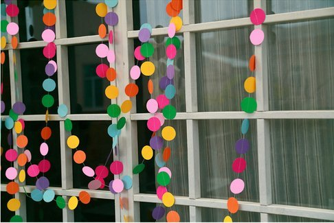 Magicoo Set of 2 4M(13FT) Colorful Paper Garland Banner for Wedding, Home Party Decoration (Circle Shape-3)