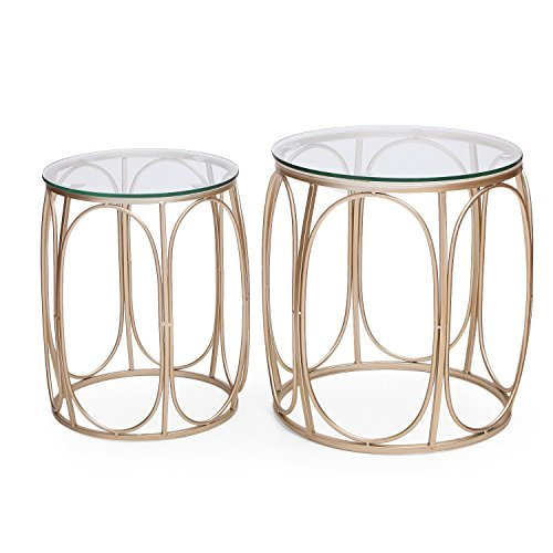 Adeco FT0124 Round Nesting Accent Side Set of 2-Gold End Tables,