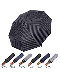 GBU Compact Travel Umbrella w/Windproof UV Protection, Solid Wood Handle– Automated Open/Close System (Black with White line)