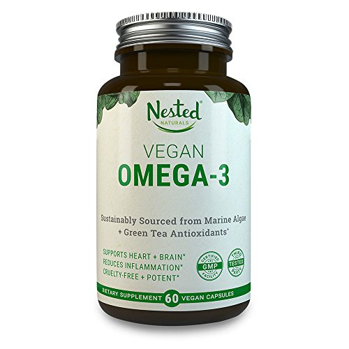 Heart Choice Plant - VEGAN OMEGA 3 – Better than Fish Oil | 60 Capsules of Algal DHA and EPA | Plant Based Brain Supplement, Maintain Cardiovascular Health and Quality Prenatal Omega-3 | Vegetarian Fatty Acids Supplements