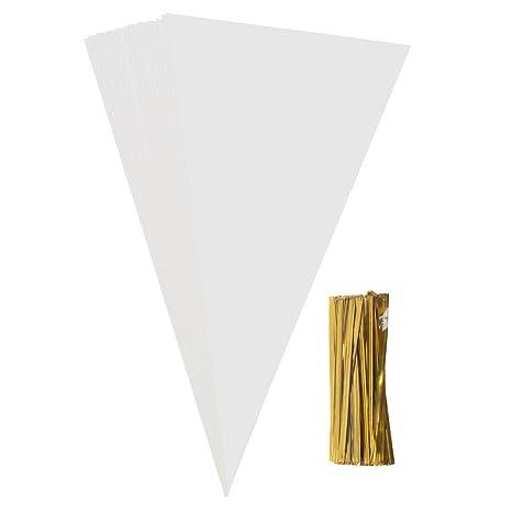Bolsas transparentes para violonchelo de cono, 100 unidades, cono de sicai transparente, bolsas para dulces con 100 piezas de corbatas, 37 x 18 cm.
