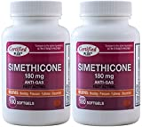 Simethicone 180 mg 360 Softgels Anti-Gas Generic for Phazyme Ultra Strength Fast Relief of Stomach Gas and Bloating 180 Gelcaps per Bottle Pack of 2 Total 360 Gelcaps