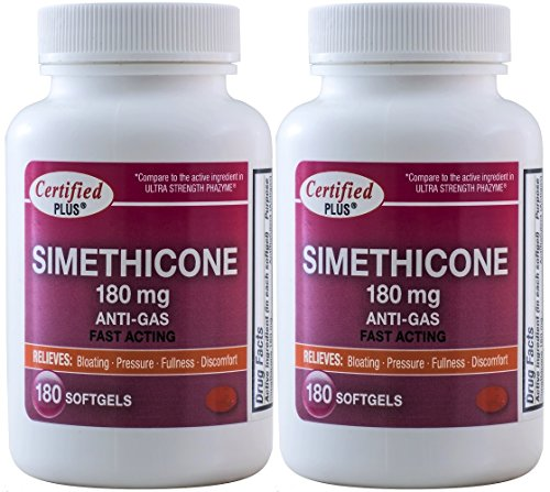 Simethicone 180 mg 360 Softgels Anti-Gas Generic for Phazyme Ultra Strength Fast Relief of Stomach Gas and Bloating 180 Gelcaps per Bottle Pack of 2 Total 360 Gelcaps ()