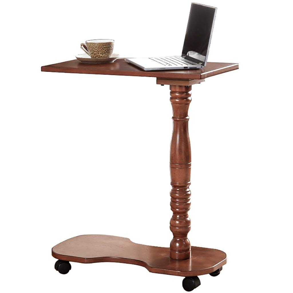 2 Tier C Table Mobile, Sofa Table for Coffee Laptop, Solid Wood Support Columnfor Living Room, Bedroom, Balcony - Rubberwood by LYR