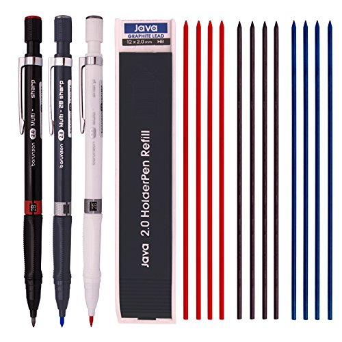 (Barunson 2.0 mm Lead Holder Pen Mechanical Pencil for Draft Drawing,Carpenter,Crafting, Art Sketching Sharpener (Pack of 3 Pens) + (2.0mm Hb Lead 1 Tube-Red 4+Blue 4 + Black 4=12 Leads))
