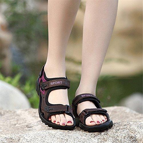 Casuales Mujeres De Sandalias Zapatos De De Planas Sandalias Las Rosado del Playa Verano Senderismo Zapatillas Zapatos Transpirables Sandalias Cuero De dPwq7OOX